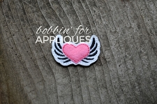 Winged Heart Feltie Embroidery Design