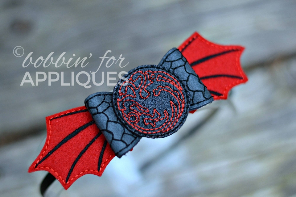 House Of Dragons Inspired ITH Felt Bow