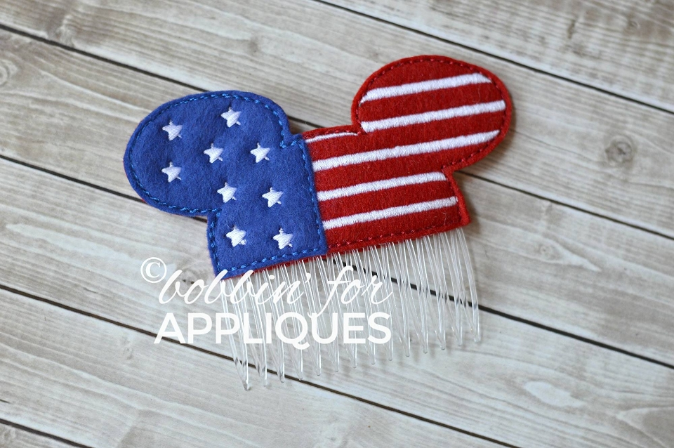 Patriotic Mouse Inspired Hair Comb Topper
