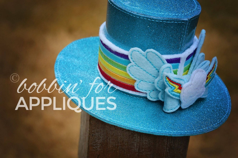 Rainbow Horse Inspired Hat Band and Bow for ITH Top Hat Version 2