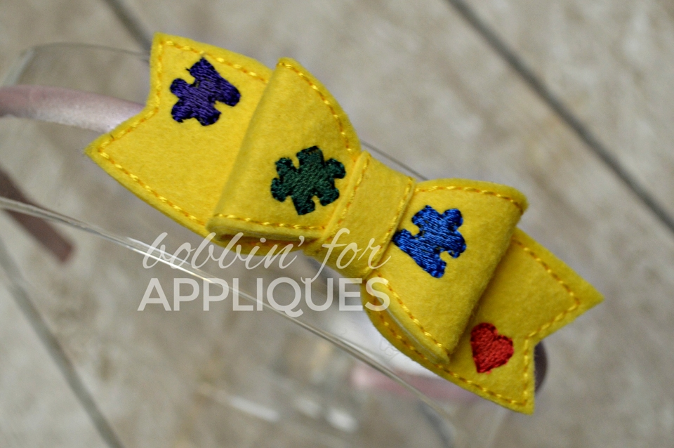 Puzzle Pieces Autism Awareness Inspired ITH Bow