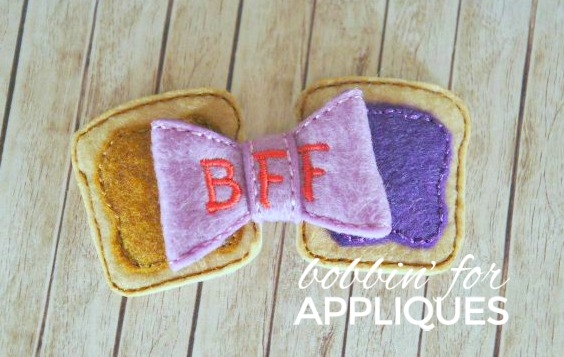 BFF Peanut Butter and Jelly ITH Felt Bow