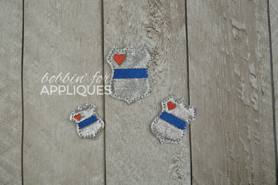 Blue Line Badge Police Feltie in 3 sizes