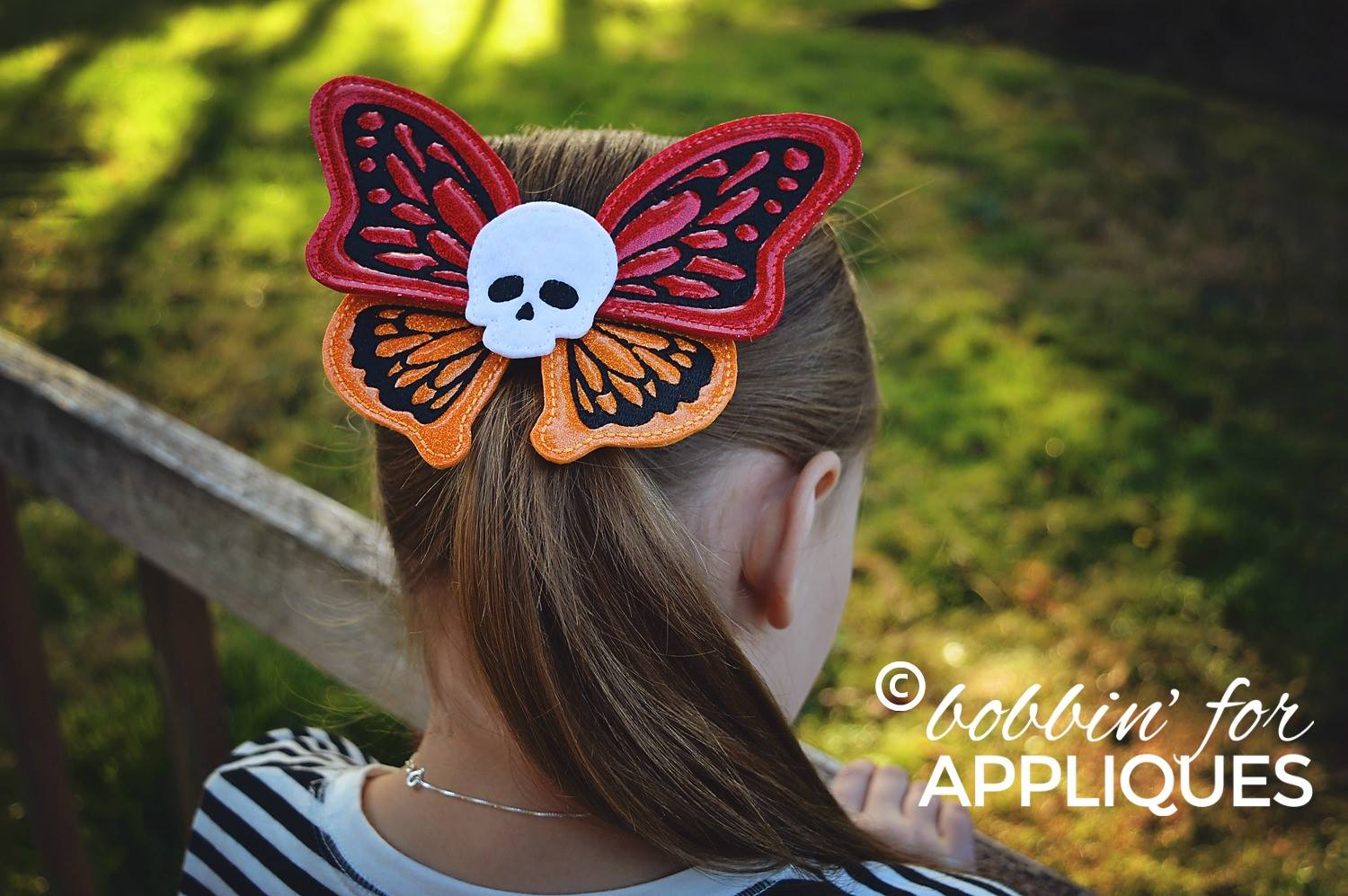 Butter Skull Cheer Bow Butterfly BIG BOW project ITH