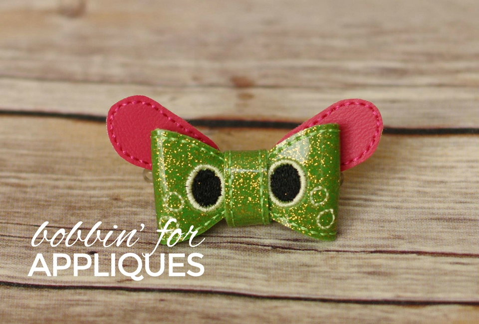 Caterpi Caterpillar Poke Inspired Bow ITH Hair Bow