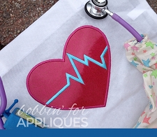 Heartbeat EKG Heart Applique