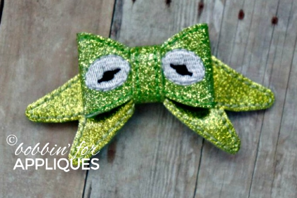 Frog Inspired ITH Felt Bow