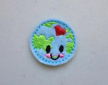 Earth Day April 22nd Happy Little Earth Feltie Embroidery Design File
