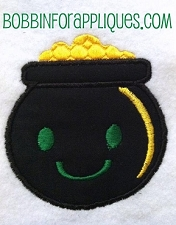 Happy Little Pot Of Gold Applique Embroidery Design File