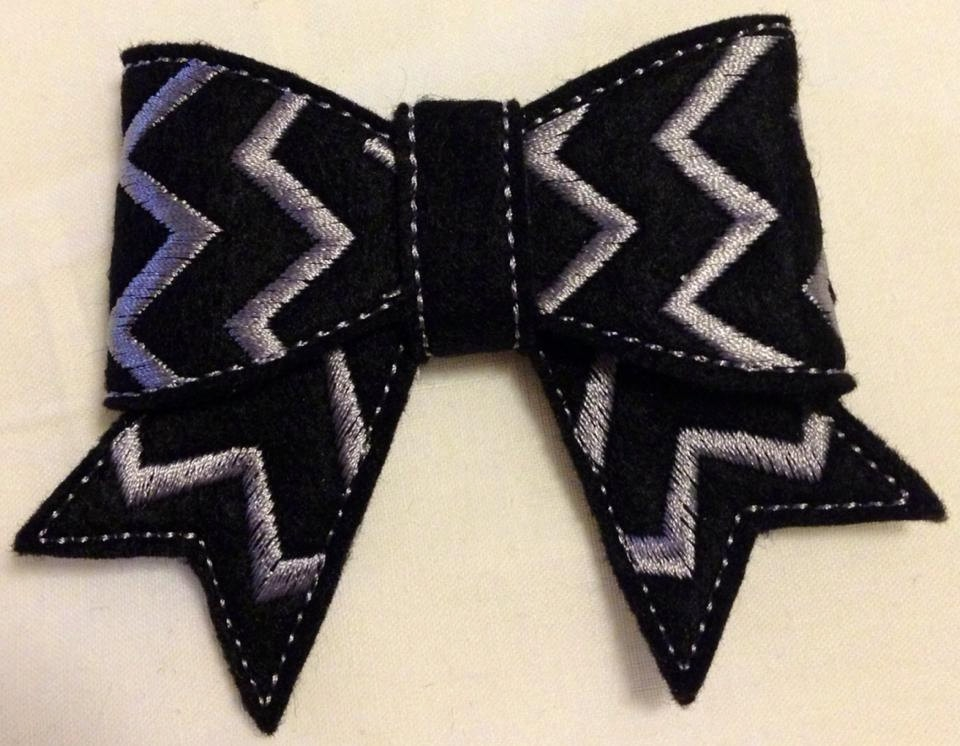 3D Felt Chevron Bow ITH In the Hoop 2,3 & 4 inch Bow Embroidery Design
