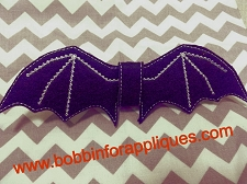 Halloween Bat Bow Embellishment ITH In the Hoop 3, 4 & 5 inch Bow Embroidery Design