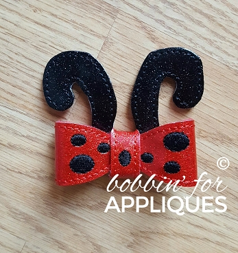 Standing Ladybug Antennae with Bow ITH Project