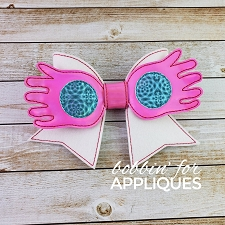 Eccentric Glasses Inspired Cheer Bow BIG BOW project ITH