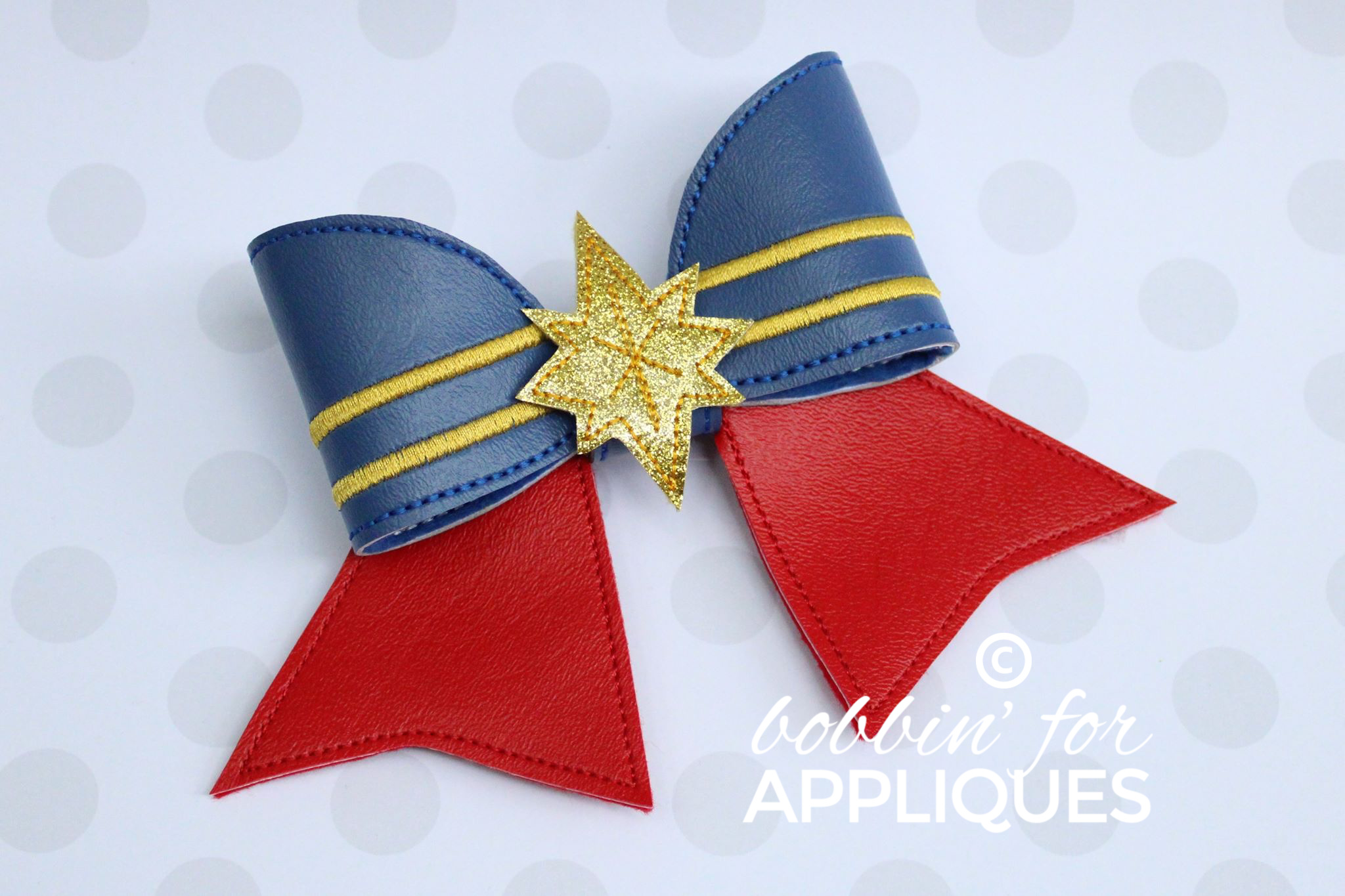 Female Hero inspired Cheer Bow BIG BOW project ITH
