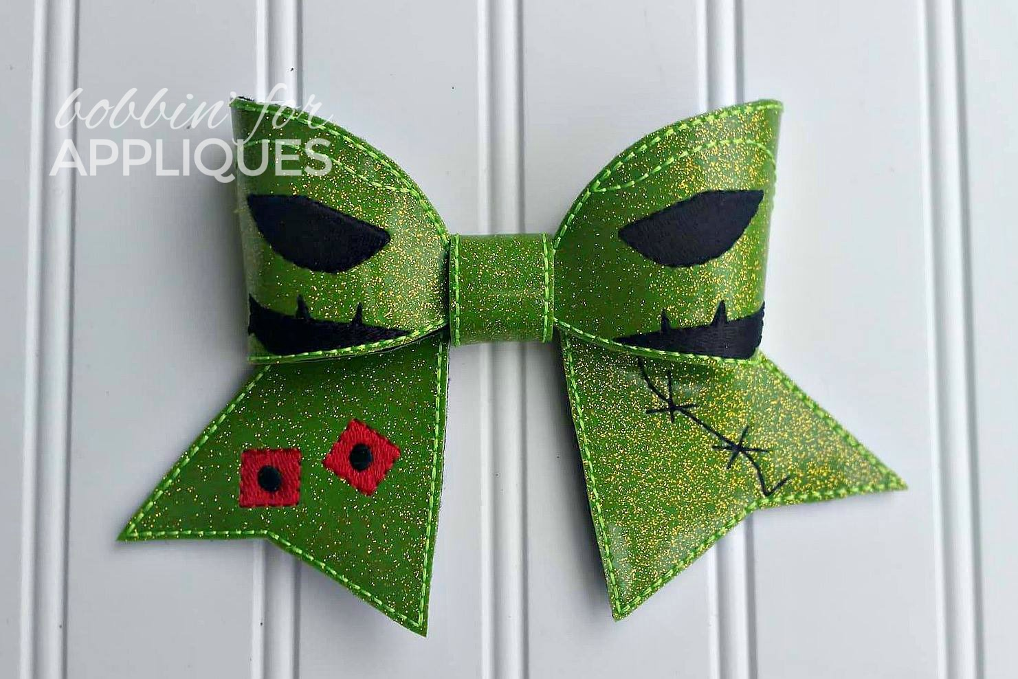 Skelly's Boogie Man Inspired Cheer Bow BIG BOW project ITH