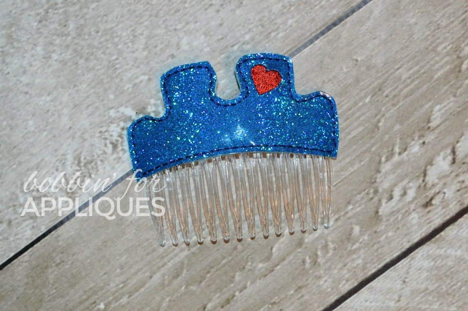 Puzzle Piece Autism Awareness Hair Comb Topper
