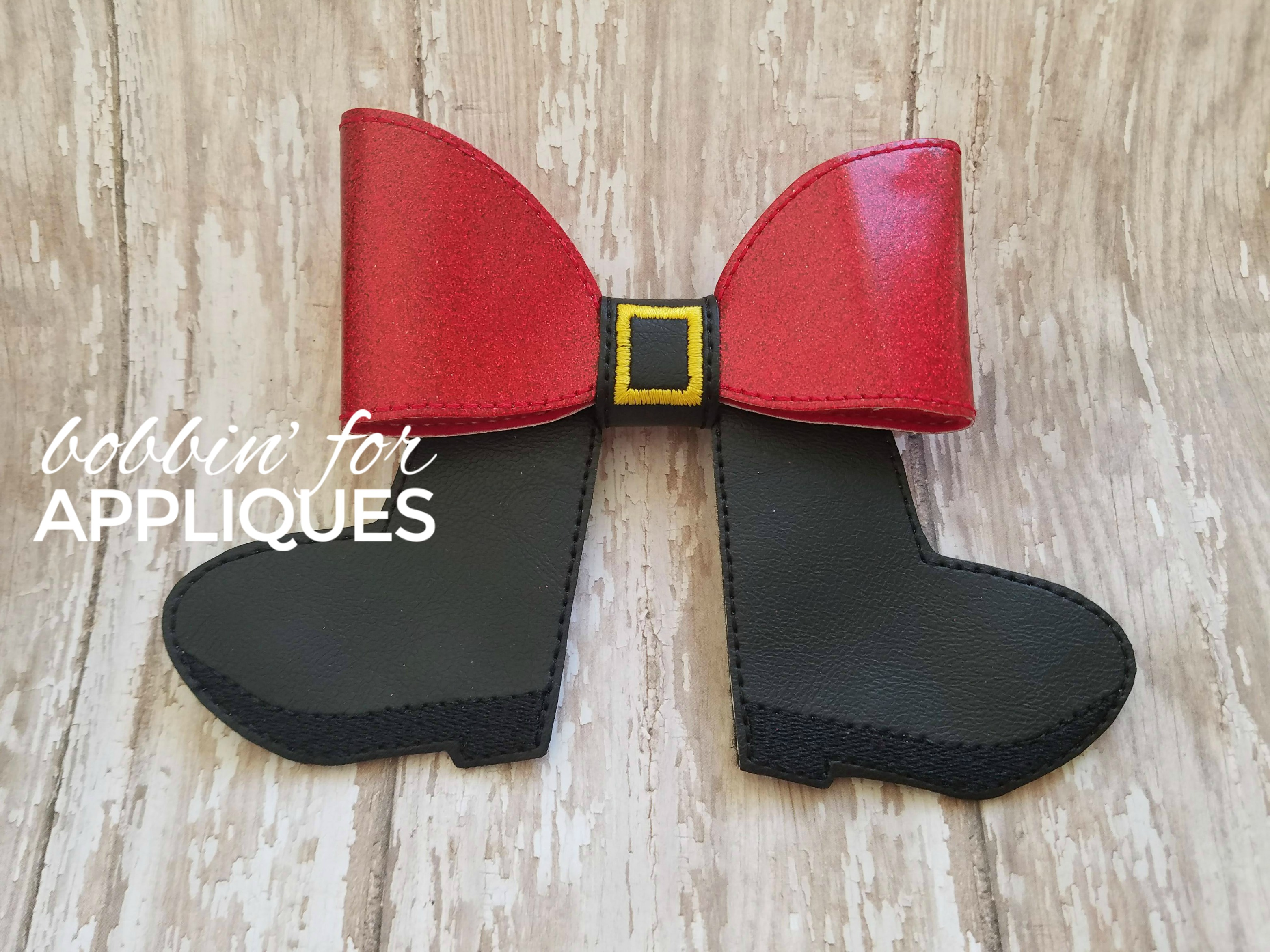 Santa Boots Cheer Bow BIG BOW project ITH
