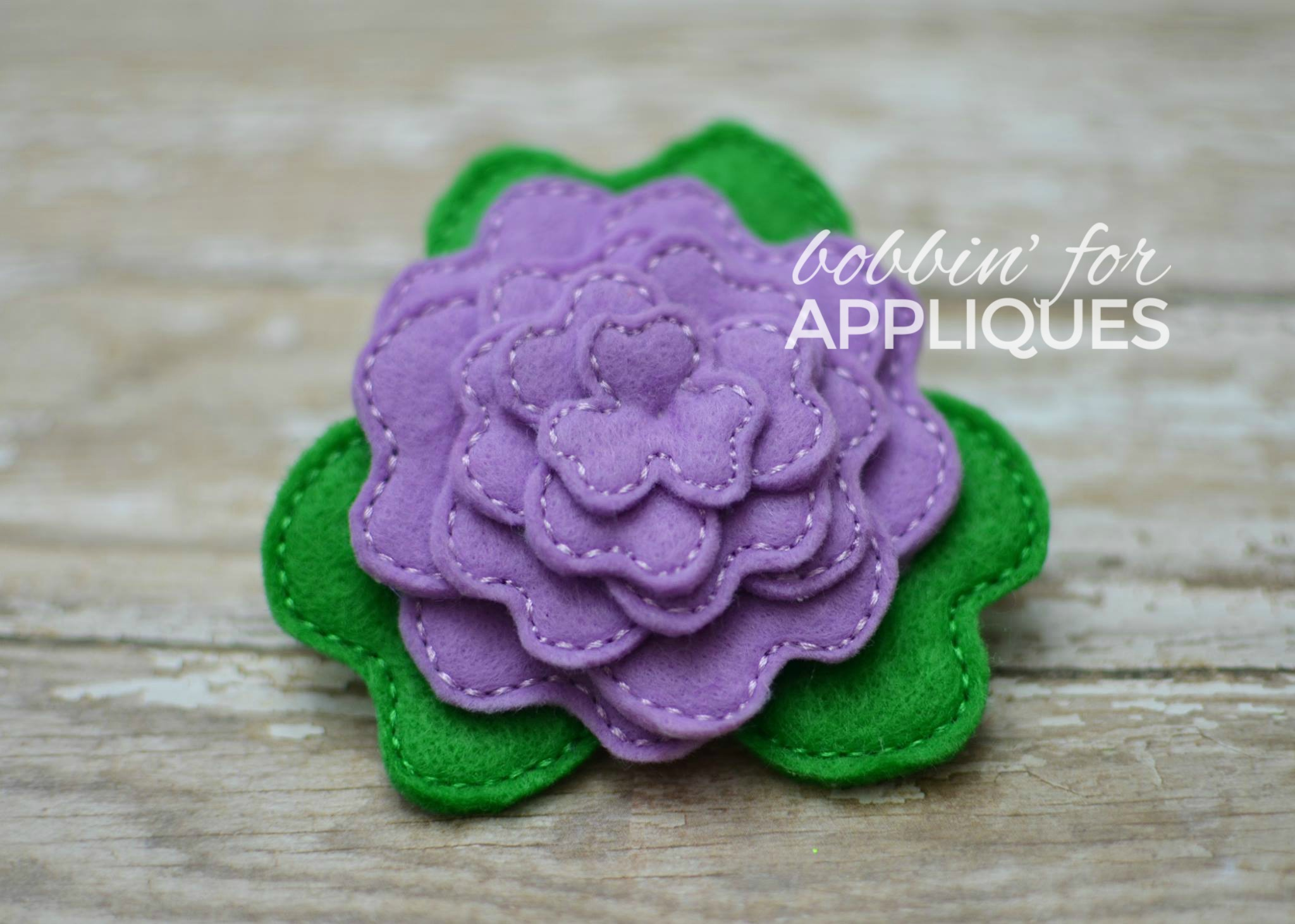 Heart Shaped Petal Stacked Flower ITH Felt Design