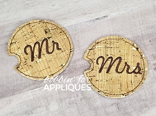 Mr and Mrs Motif Car Coaster Cup Holder Liner ITH