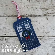 Police Box inspired ITH Ornament