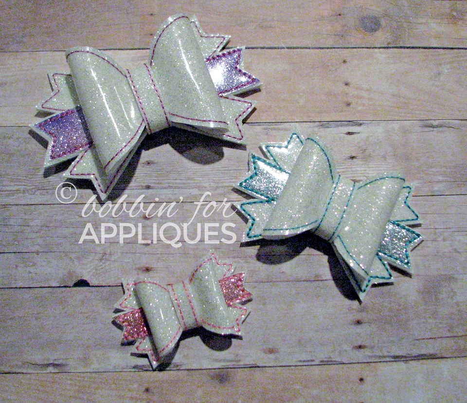 3D Triple Spike Bow Embellishment ITH In the Hoop 3, 4 and 5 inch Bow Embroidery Design