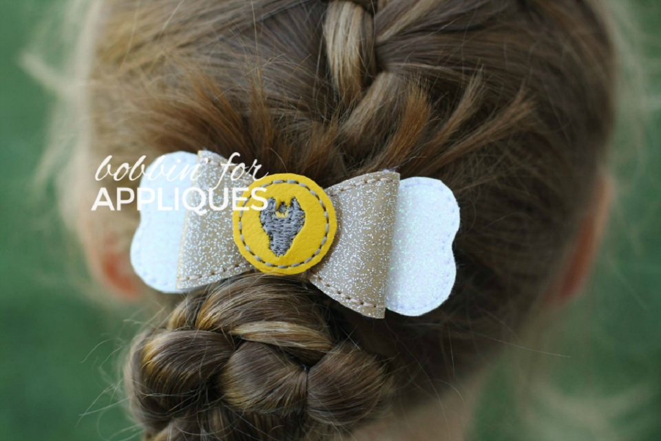 Wrench paw dog inspired ITH Hair Bow