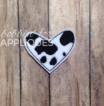 Cow or Giraffe Print Heart Feltie