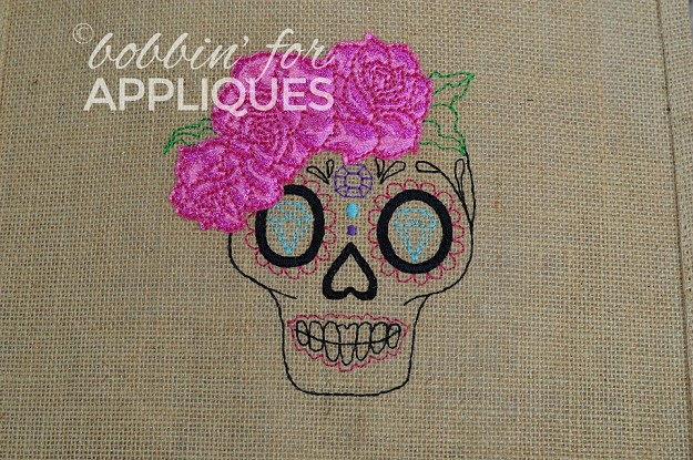Jeweled Sugar Skull Redwork Design