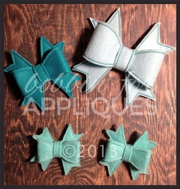 3D Felt Boutique Style Bow Embellishment ITH In the Hoop 2,3 & 4 inch Bow Embroidery Design