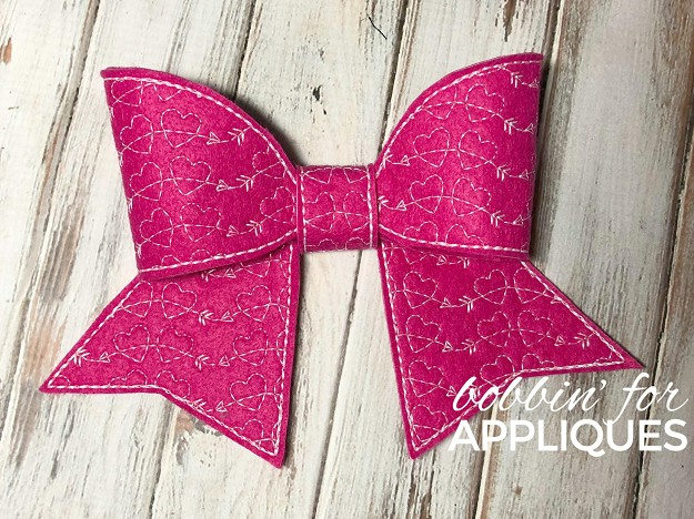 Curved Hearts and Arrows Motif Cheer Bow BIG BOW project ITH