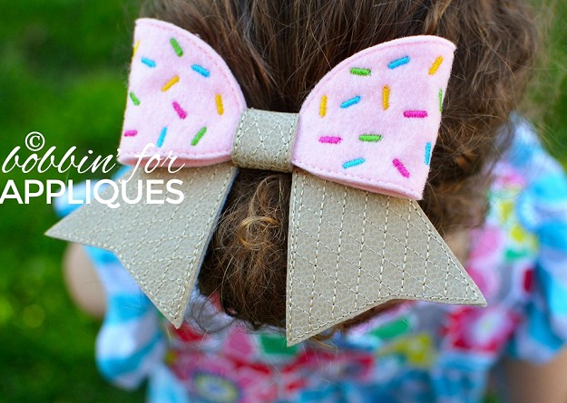 Ice Cream Cheer Style BIG BOW project ITH
