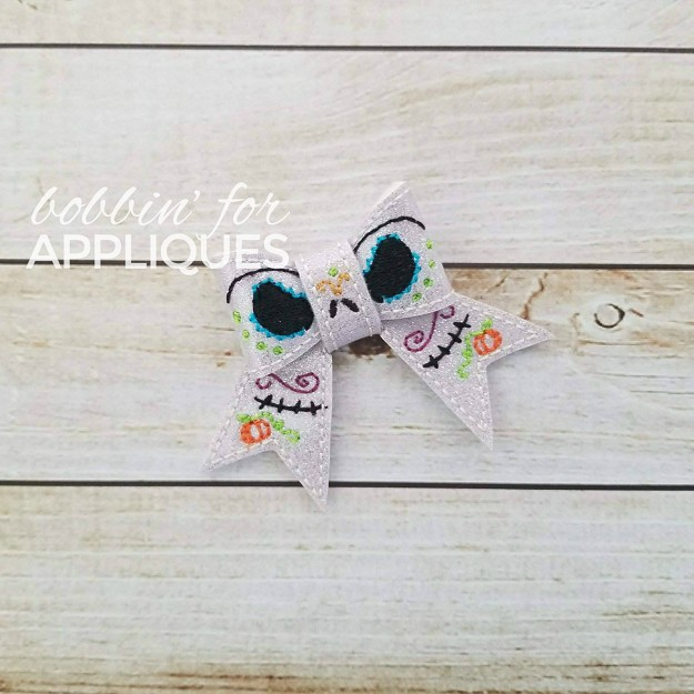 Junior Sugar Skull Skelly Bow Inspired Halloween ITH Hair Bow