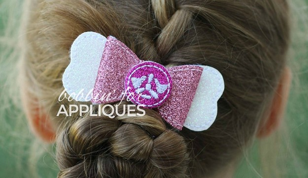 Plane paw dog inspired ITH Hair Bow