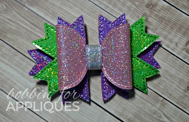 3D Multi-Spike Bow Embellishment ITH In the Hoop  Embroidery Design (3 sizes)