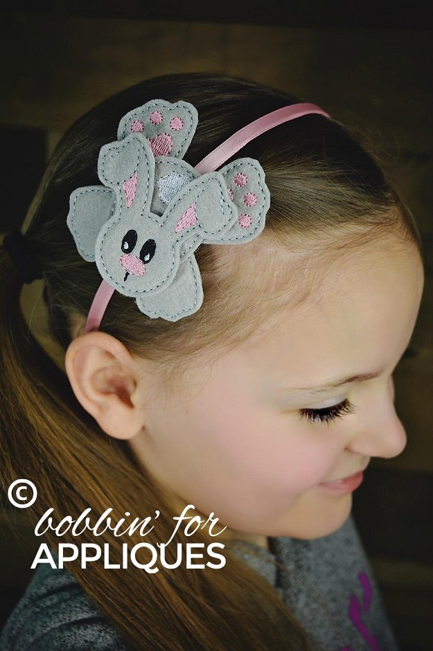 Flat Stacked Bunny Bow ITH Project