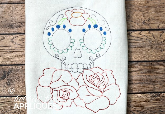 Sugar Skull Redwork Design with Roses