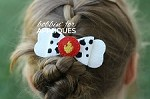 Fire paw dog inspired ITH Hair Bow
