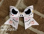 Sugar Skull Jake Skelly Man Cheer Bow BIG BOW project ITH
