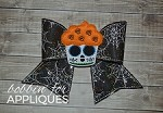 Sugar Skull Cupcake Bow BIG BOW project ITH