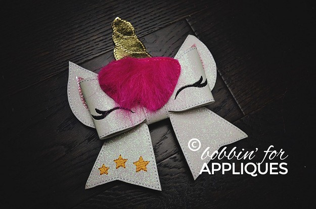 Unicorn Cheer Bow BIG BOW project ITH